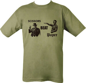 Military-Printed-Scissors-Beat-Paper-T-Shirt-Green