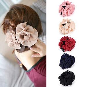 Fashion-Womens-Chiffon-Rose-Flower-Bow-Jaw-Clip-Barrette-Hair-Claw-GiftS1