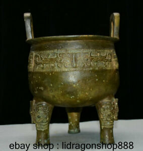 Ancien-palais-de-la-dynastie-chinoise-en-bronze-de-10-034-bete-de-3-pieds