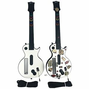 Lot of 2 Nintendo Wii Guitar Hero Controller White Les Paul w/Strap Tested Works