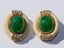 Signed CINER Enamel Diamante Rhinestones green poured Glass Cabochon Earrings