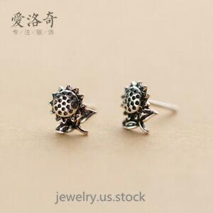 Sunflower Stud Earrings 925 Sterling Silver