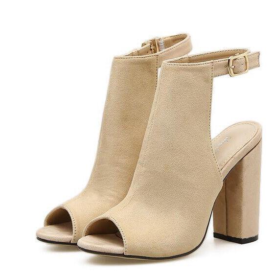Sandali bottes estivi tacco quadrato 11 cm beige pelle sintetica eleganti 9693