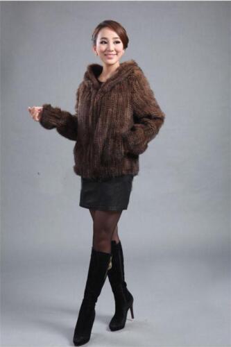 100/% Knitted Mink Fur Coat DailyOutwear Jacket Hoody Classic Warm Coffee//Black