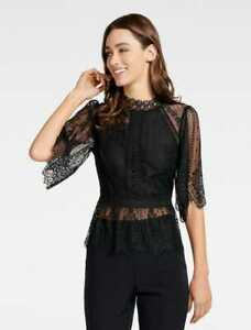 FOREVER-NEW-Womens-Black-Annalise-Lace-Blouse-Top-Size-AU-12-or-US-8