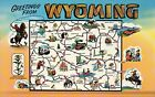 Greetings from Wyoming, Cheyenne, Laramie, Jackson, Rodeo etc State Map Postcard