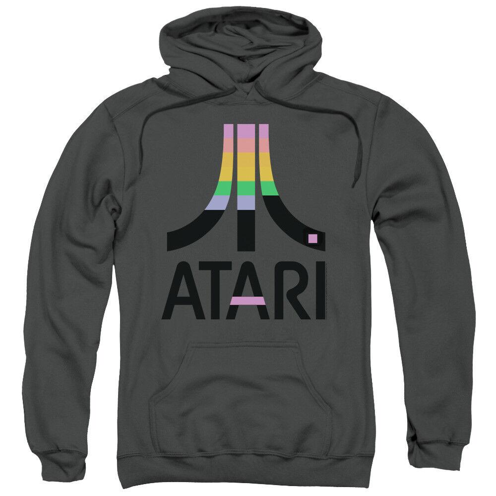 Atari Hoodie Retro Farbes Logo Charcoal Hoody