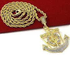 """Mens Hip Hop Anchor Jesus Cross Pendant 24"""" Rope Chain Pendant Necklace Set D454"""