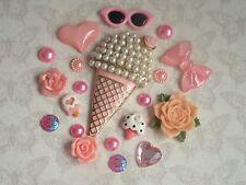 Ice Cream Decoden Mix Set FlatBack Resin Cabochon Kawaii Embellishment Craft Bow