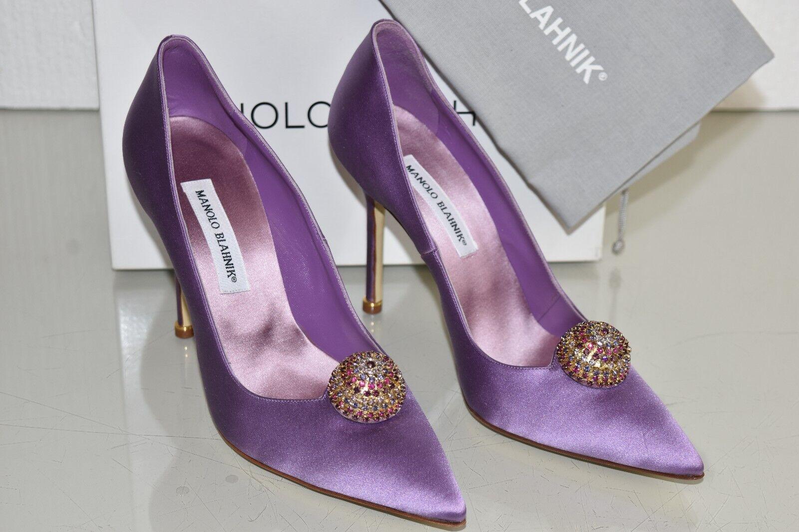 1245 NEW Manolo Blahnik BOTTANA  BB Satin purple Purple Jeweled Pumps shoes 41