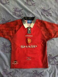 VINTAGE-Manchester-United-1996-98-Calcio-Casa-maglietta-jersey-UMBRO-LB-della-Gioventu