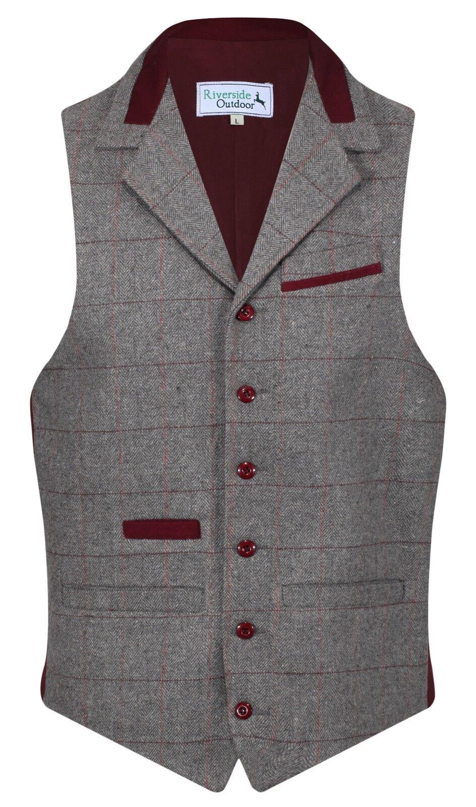 Herren Wolle Denford Qualität Tweed Karierte Weste mit Kragen Hartzinn Grau Neu