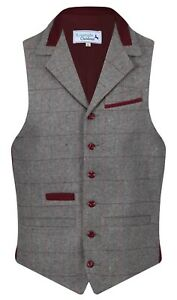Qualità Uomo Da Quadretti Gilet Colletto Lana A Tweed In Con Denford USwxgq7wa