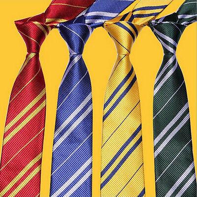 4 Styles Harry Potter Ravenclaw Slytherin Gryffindor Hufflepuff Silk Tie Cosplay