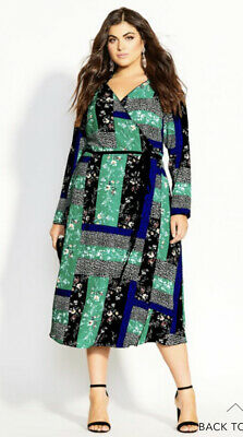City Chic Sz Xs/14 Bright Patch Dress Nwt Removing Obstruction