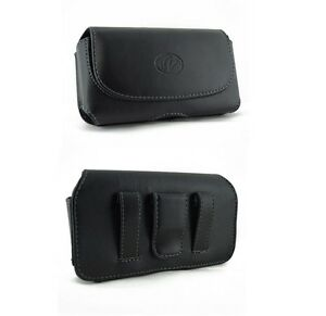 Premium-Leather-Carrying-Case-Cover-Side-Phone-Holster-Clip-with-2-034-Belt-Loops