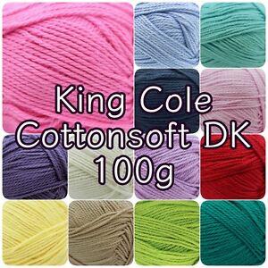 King-Cole-Cottonsoft-DK-Double-Knit-Cotton-Knitting-Crochet-Yarn-100g-Ball