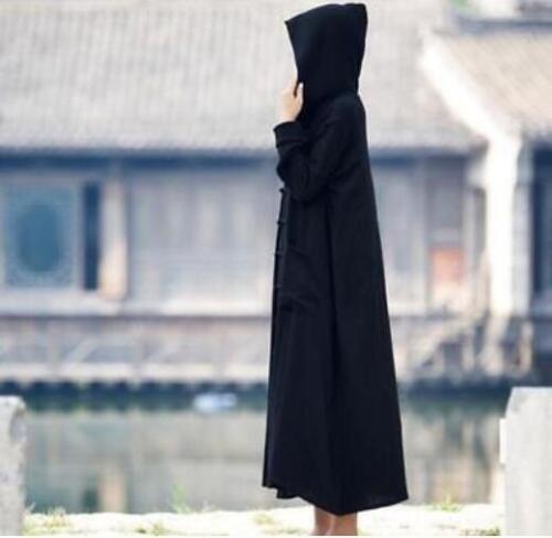Retro Womens Cotton Linen Jacket Cape Hooded Long Overcoat Coat Cardigan E134