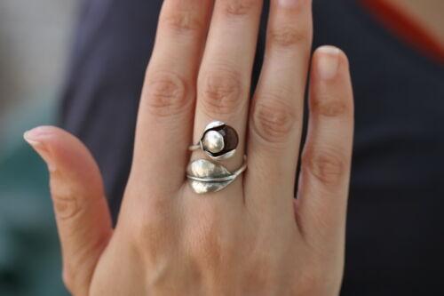 Artisan Flower Leaf w//Gemstones Ring Handcrafted Sterling Silver Jewelry Art