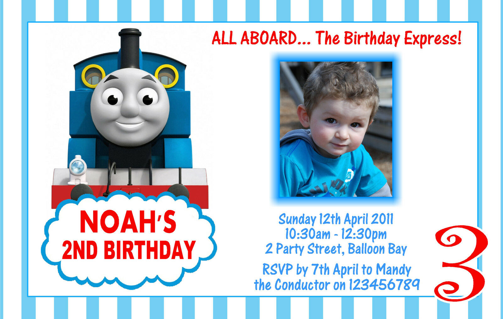 Personalised Thomas The Tank Engine Birthday Party Invitation 1st