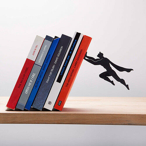 Superhero Bookend Book & Hero Black Metal Holder Artori Design New Genuine