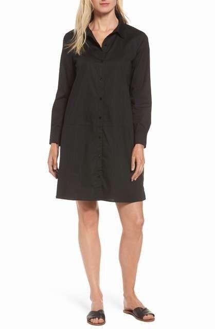 NEW Eileen fisher Stretch Organic Cotton Shirtdress in schwarz - Größe S