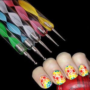 5pcs Nail Art Pen Double Way Marbleizing Dotting Pen Dot Paint Tool