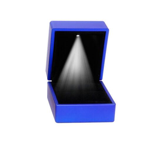 LED Lighted Ring Box Jewelry Velvet Gift Storage Holder Case Wedding Engagement