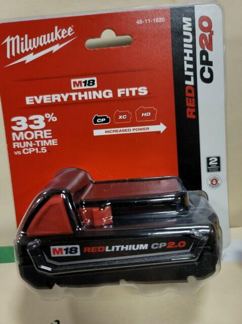 Milwaukee M18 Li-Ion 2.0 Ah Compact Battery 48-11-1820 new in packaging FREESHIP