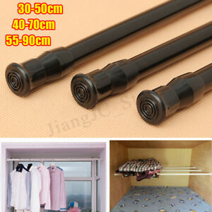 Black Extendable Adjustable Spring Tension Rod Pole