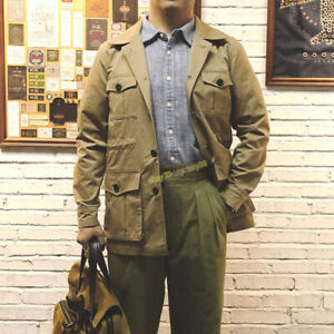 Details about Vintage Multi pocket Bush Safari Jacket Men's Overalls Work Casual Army Coat