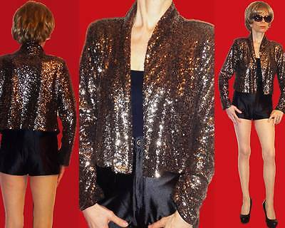ADORE GOLD BRONZE SHINY SEQUINS CROPPED JACKET EVE BOLERO M