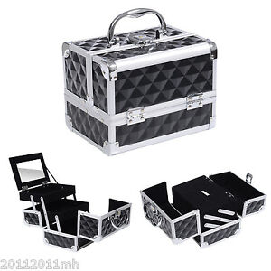 HOMCOM Makeup Train Case Aluminum 3 Tiers W/Mirror