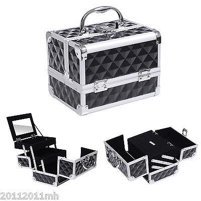 Pro Aluminum Makeup Train Case Jewelry Storage Box Cosmetic Organizer W/ Mirror