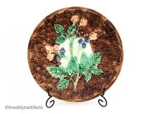 Antique-1800s-Brown-Majolica-Art-Pottery-Large-Blackberry-Serving-Bowl