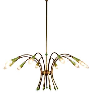 Stilnovo Sputnik Leuchte Messing & Lindgrün Stabpendel Hänge Lampe Italien 50er