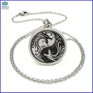 Collana uomo donna con ciondolo amuleto talismano yin yang in acciaio inox da a