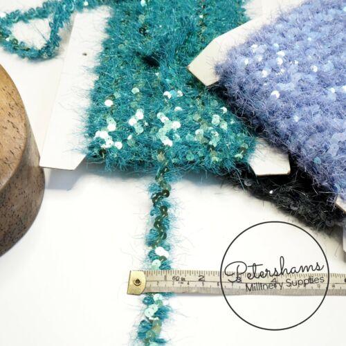 1m Fuzzy Wavy Sequin Trim for Hat Trimming /& Crafts