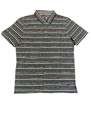 XXL Ex White Stuff Mens Short Sleeve Purple Black Striped Top T-Shirt M A9.2