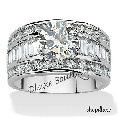2 CT Engagement Ring Stainless Steel Round CZ w Baguette Round Accents Sz 5-10