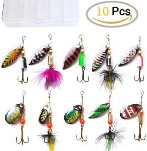 Fishing Lures Metal Spinner baits Tackle Boxes Kit Bass Trout Salmon Walleye