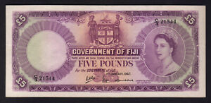 FIJI-P-54f-1967-Five-Pounds-Elizabeth-11-Portrait-gVF-EF
