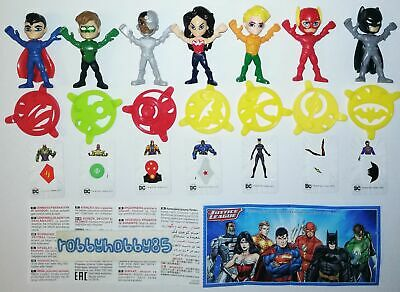 JUSTICE LEAGUE COMPLETE SET WITH ALL PAPERS KINDER SURPRISE 2017 DC COMICS