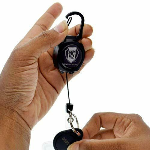- Heavy Duty Retractable Badge Reel with ID Holder Strap & 2 Pack Black