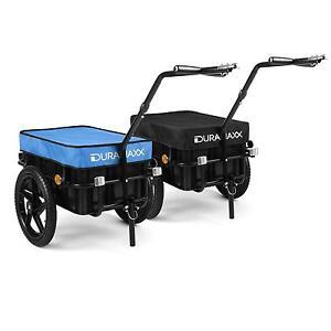 Duramaxx Big Black-Blue Mike /• Remorque pour v/élos /• Capacit/é 70L /• Panier Amovible /• Ch/âssis en Acier /• 40kg Max /• B/âche imperm/éable /• Chariot /à Main /• Noir//Bleu