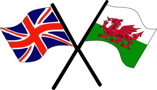 Motorsport extérieur Autocollant Vinyle ROYAUME-UNI Pays de Galles Drapeau Dragon Gallois Union Jack Stickers
