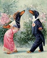 Vintage Dachshund Dog Daschund Weiner Couple Flirting Quilting Fabric Block