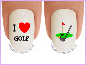 Image Is Loading 22 Nail Art 321 Sports I Love Golf