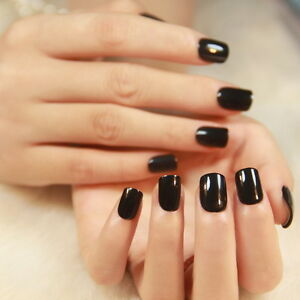 Image Is Loading Solid Color Fake Nails Short Black Pink Purple