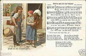 Gruss-aus-dem-Erzgebirge-Kloeppeln-Liedpostkarte-von-W-Vogel-Schwarzenberg